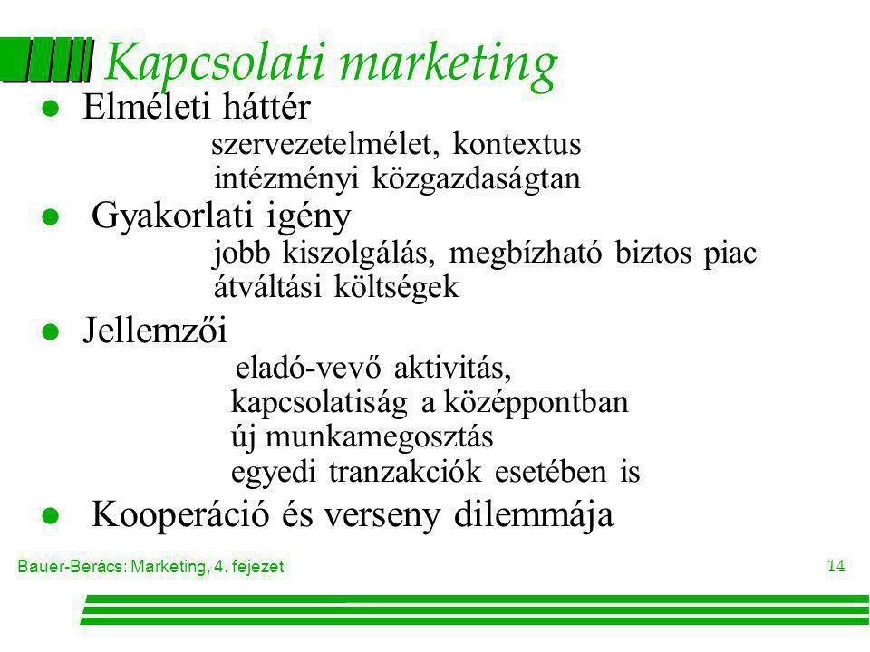 Bauer-Berács: Marketing, 4. fejezet 14 Kapcsolati marketing l Elméleti háttér szervezetelmélet, kontextus intézményi közgazdaságtan l Gyakorlati igény