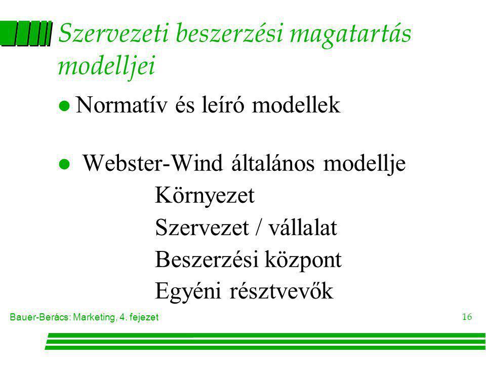 Bauer-Berács: Marketing, 4. fejezet 16 Szervezeti beszerzési magatartás modelljei l Normatív és leíró modellek l Webster-Wind általános modellje Körny
