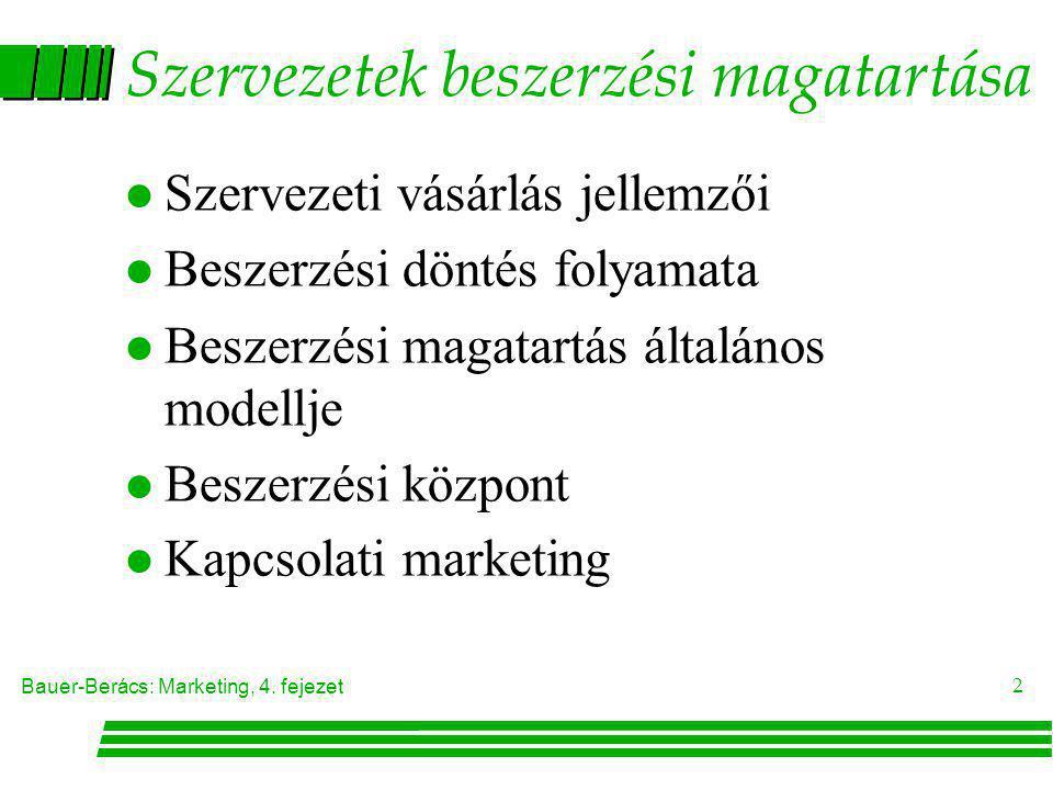 Bauer-Berács: Marketing, 4. fejezet 2 Szervezetek beszerzési magatartása l Szervezeti vásárlás jellemzői l Beszerzési döntés folyamata l Beszerzési ma
