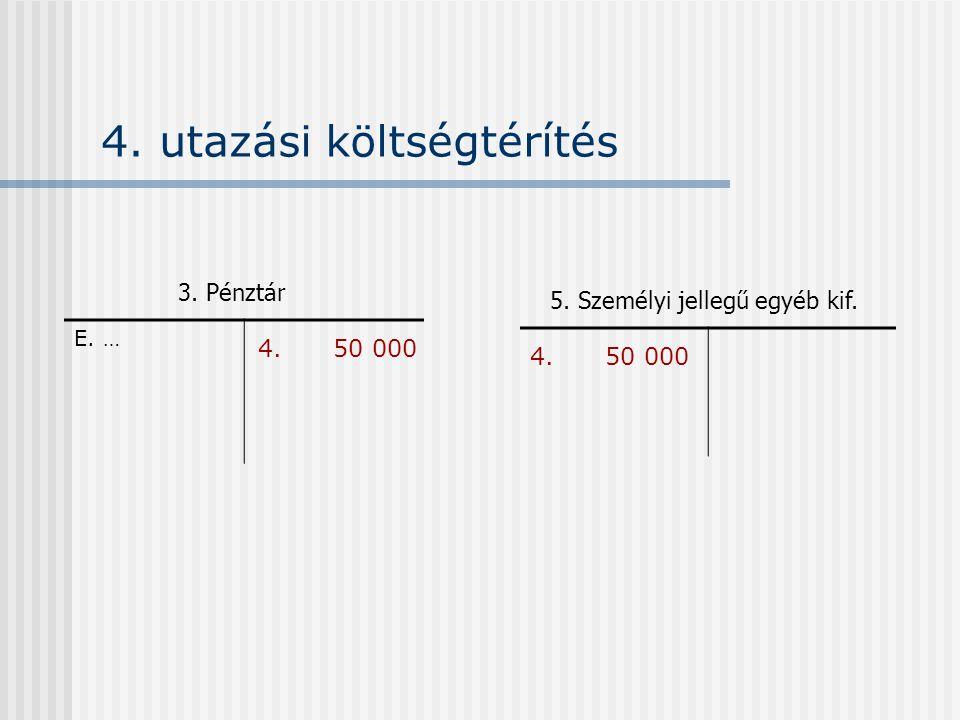 4. utazási költségtérítés E. … 5. Személyi jellegű egyéb kif. 3. Pénztár 4. 50 000