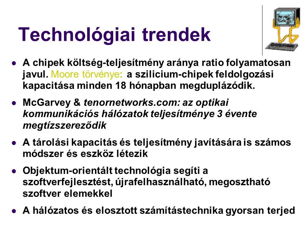 Technológiai trendek A chipek költség-teljesítmény aránya ratio folyamatosan javul. Moore törvénye: a szilicium-chipek feldolgozási kapacitása minden