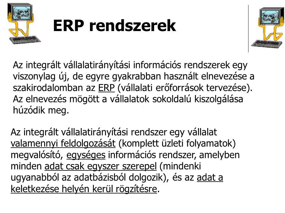 ERP rendszerek Integrációs elvárások alkalmazások integrációja Különböző vállalati alkalmazások (felhasználói funkciók) integrálása egy rendszerben: tranzakció feldolgozás (OLTP), döntéstámogatás és elemzés (OLAP), információs rendszerek irodaautomatizálás, dokumentumkezelés, workflow CAD / CAM rendszerekkel összekapcsolás