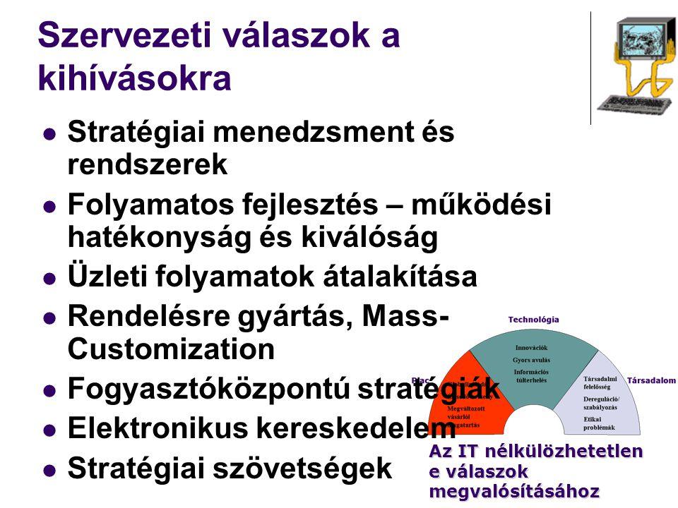 Szervezeti válaszok a kihívásokra Stratégiai menedzsment és rendszerek Folyamatos fejlesztés – működési hatékonyság és kiválóság Üzleti folyamatok áta