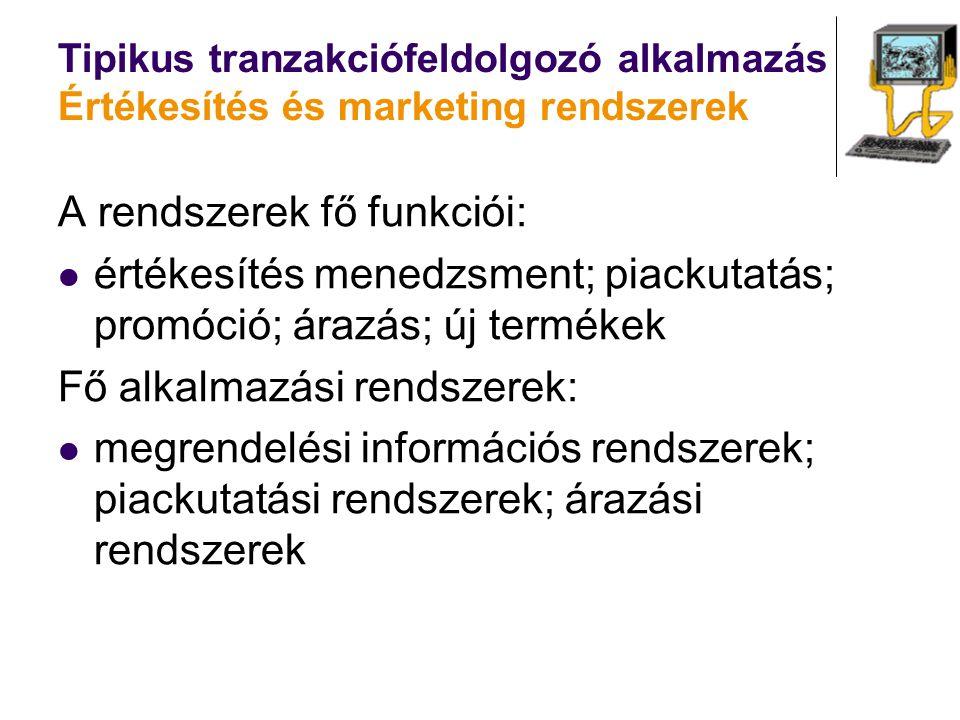 Tipikus tranzakciófeldolgozó alkalmazás Értékesítés és marketing rendszerek A rendszerek fő funkciói: értékesítés menedzsment; piackutatás; promóció;