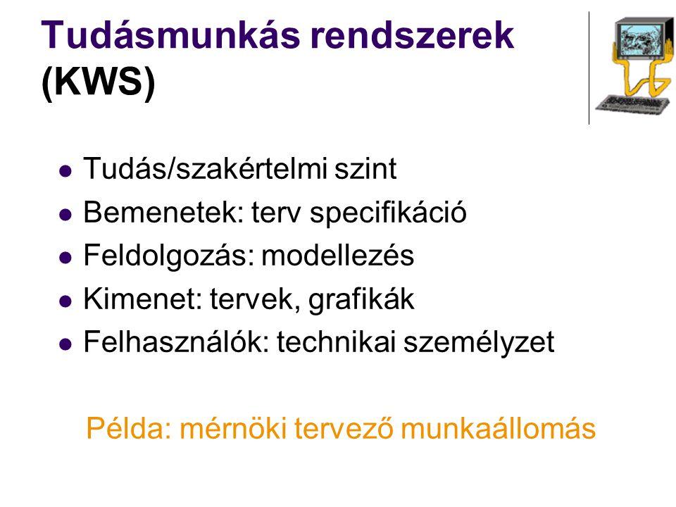 Tudás/szakértelmi szint Bemenetek: terv specifikáció Feldolgozás: modellezés Kimenet: tervek, grafikák Felhasználók: technikai személyzet Példa: mérnö
