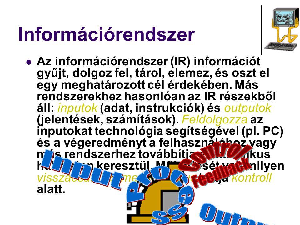 Információrendszer Az információrendszer (IR) információt gyűjt, dolgoz fel, tárol, elemez, és oszt el egy meghatározott cél érdekében. Más rendszerek