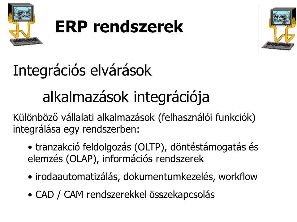 ERP rendszerek Integrációs elvárások alkalmazások integrációja Különböző vállalati alkalmazások (felhasználói funkciók) integrálása egy rendszerben: t