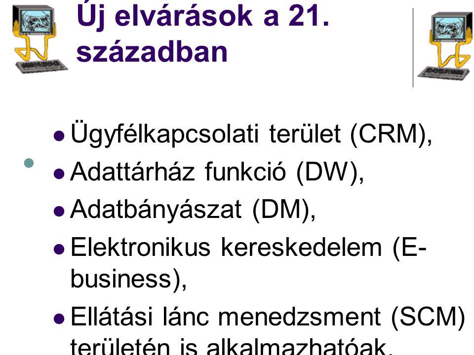 Új elvárások a 21. században Ügyfélkapcsolati terület (CRM), Adattárház funkció (DW), Adatbányászat (DM), Elektronikus kereskedelem (E- business), Ell