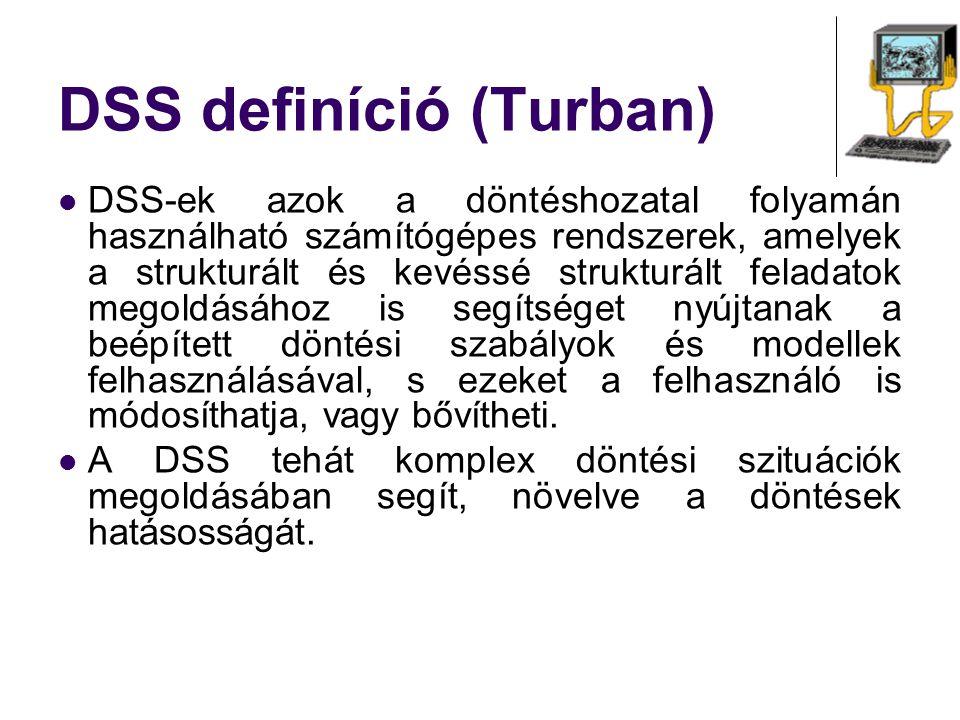 DSS definíció (Turban) DSS-ek azok a döntéshozatal folyamán használható számítógépes rendszerek, amelyek a strukturált és kevéssé strukturált feladato