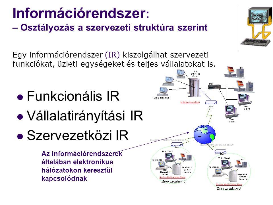 Információrendszer : – Osztályozás a funkcionális egység szerint Üzemvitel Számvitel Pénzügy Marketing HR Egy információrendszer (IR) egy vállalat valamennyi funkcióját támogathatja Tranzakciófeldolgozó rendszerek ( Transaction Processing Systems, TPS): rutin és ismétlődő feladatokat automatizál, melyek kritikusak a szervezet működése szempontjából Point-of-Sale (POS)