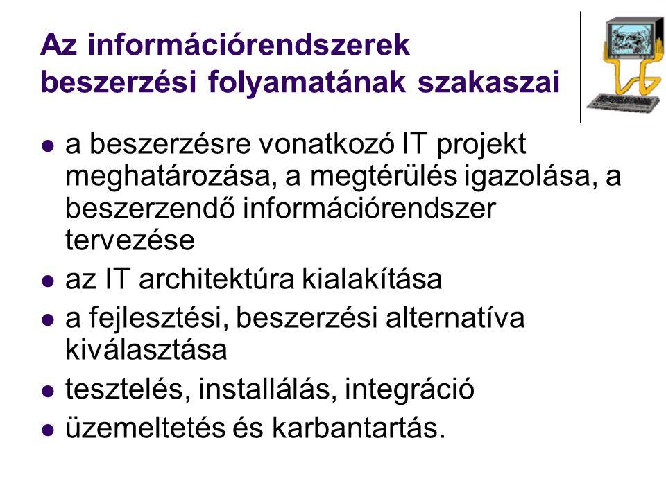 Az információrendszerek beszerzési folyamatának szakaszai a beszerzésre vonatkozó IT projekt meghatározása, a megtérülés igazolása, a beszerzendő info