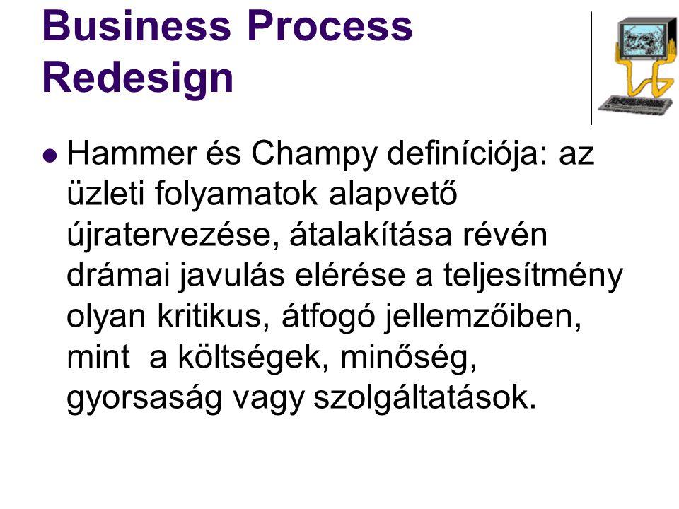 Business Process Redesign Hammer és Champy definíciója: az üzleti folyamatok alapvető újratervezése, átalakítása révén drámai javulás elérése a teljes