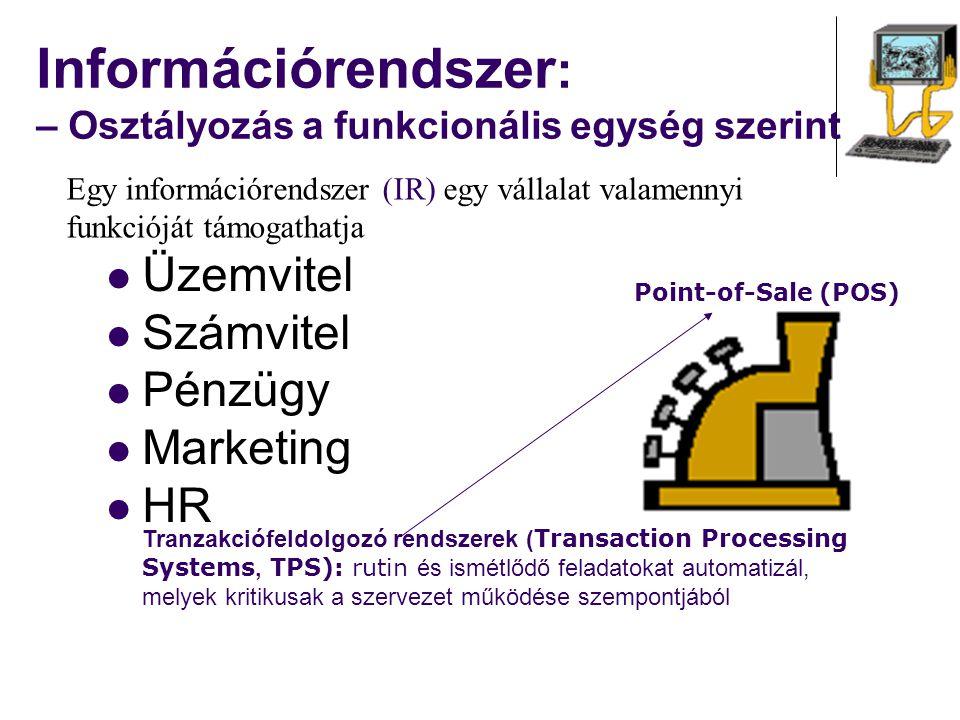 Információrendszer : – Osztályozás a funkcionális egység szerint Üzemvitel Számvitel Pénzügy Marketing HR Egy információrendszer (IR) egy vállalat val