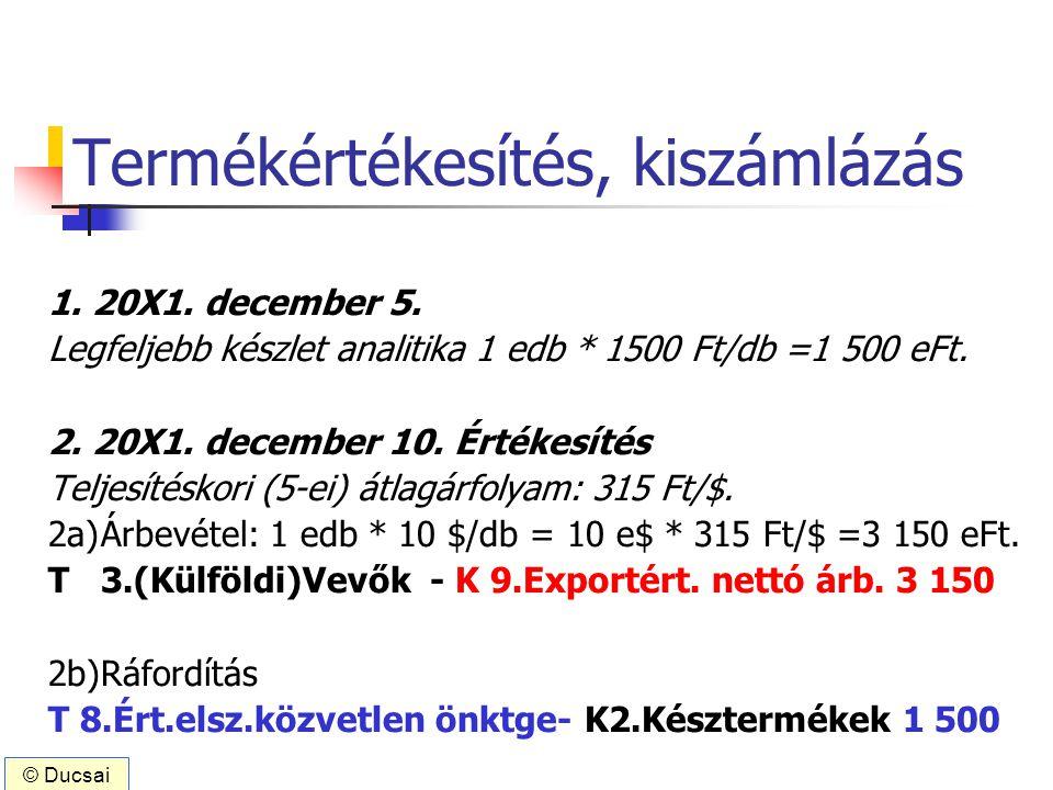Termékértékesítés, kiszámlázás 1. 20X1. december 5. Legfeljebb készlet analitika 1 edb * 1500 Ft/db =1 500 eFt. 2. 20X1. december 10. Értékesítés Telj