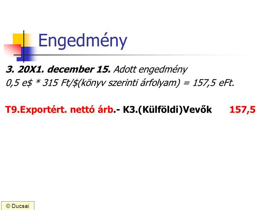 Engedmény 3. 20X1. december 15. Adott engedmény 0,5 e$ * 315 Ft/$(könyv szerinti árfolyam) = 157,5 eFt. T9.Exportért. nettó árb.- K3.(Külföldi)Vevők15