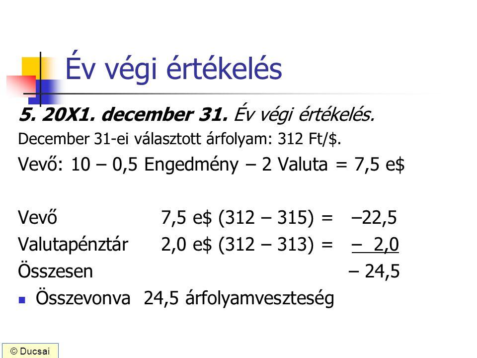 Év végi értékelés 5. 20X1. december 31. Év végi értékelés. December 31-ei választott árfolyam: 312 Ft/$. Vevő: 10 – 0,5 Engedmény – 2 Valuta = 7,5 e$