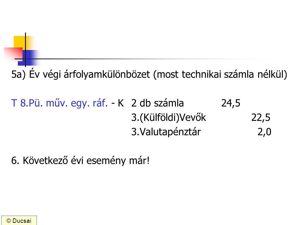 5a) Év végi árfolyamkülönbözet (most technikai számla nélkül) T 8.Pü. műv. egy. ráf. - K2 db számla 24,5 3.(Külföldi)Vevők 22,5 3.Valutapénztár 2,0 6.