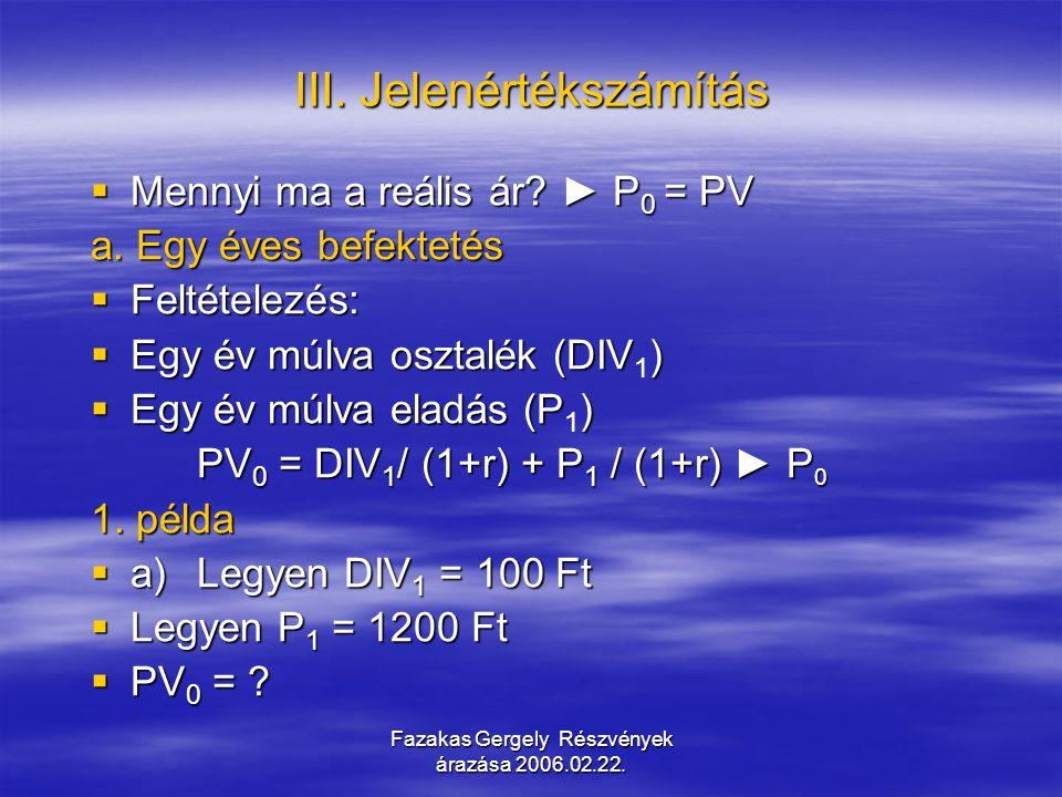 Fazakas Gergely Részvények árazása 2006.02.22.b. Kétéves befektetés  Mitől függ P 1 = PV 1 .