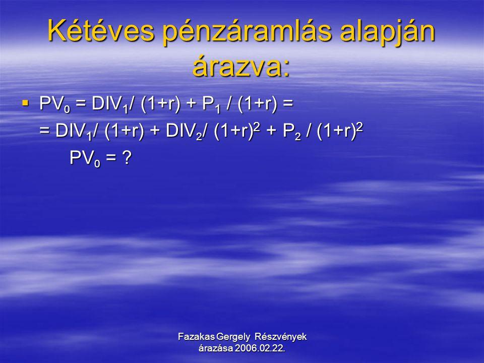 Fazakas Gergely Részvények árazása 2006.02.22. Kétéves pénzáramlás alapján árazva:  PV 0 = DIV 1 / (1+r) + P 1 / (1+r) = = DIV 1 / (1+r) + DIV 2 / (1