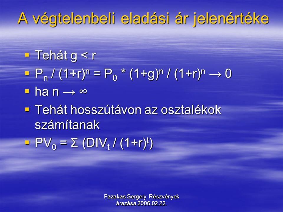 Fazakas Gergely Részvények árazása 2006.02.22. A végtelenbeli eladási ár jelenértéke A végtelenbeli eladási ár jelenértéke  Tehát g < r  P n / (1+r)
