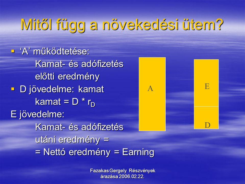 Fazakas Gergely Részvények árazása 2006.02.22. Mitől függ a növekedési ütem?  'A' működtetése: Kamat- és adófizetés előtti eredmény  D jövedelme: ka