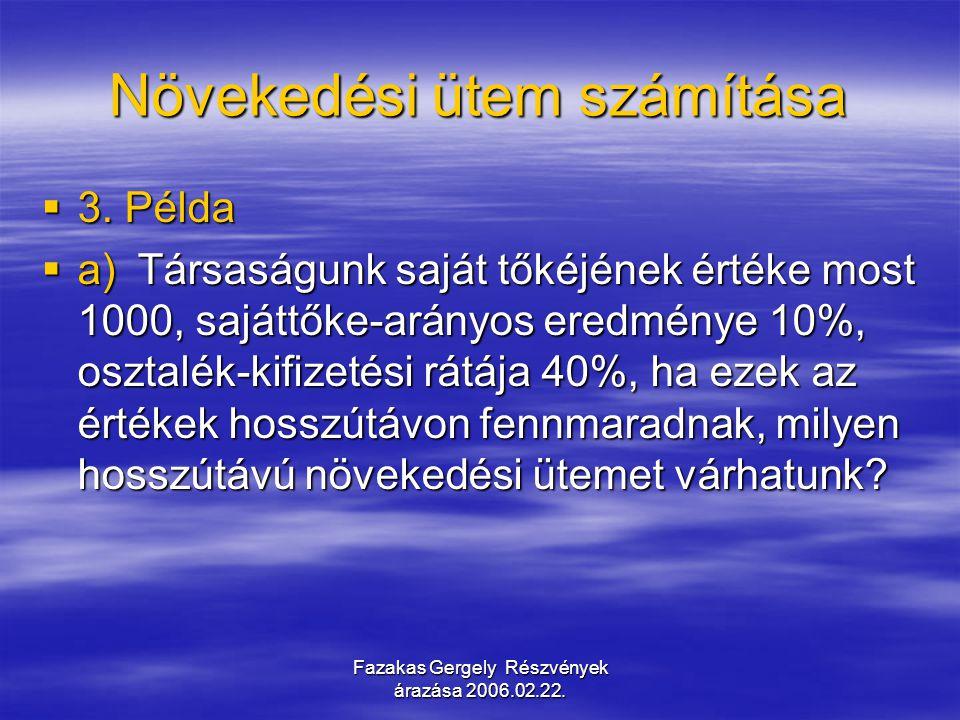 Fazakas Gergely Részvények árazása 2006.02.22. Növekedési ütem számítása  3. Példa  a) Társaságunk saját tőkéjének értéke most 1000, sajáttőke-arány