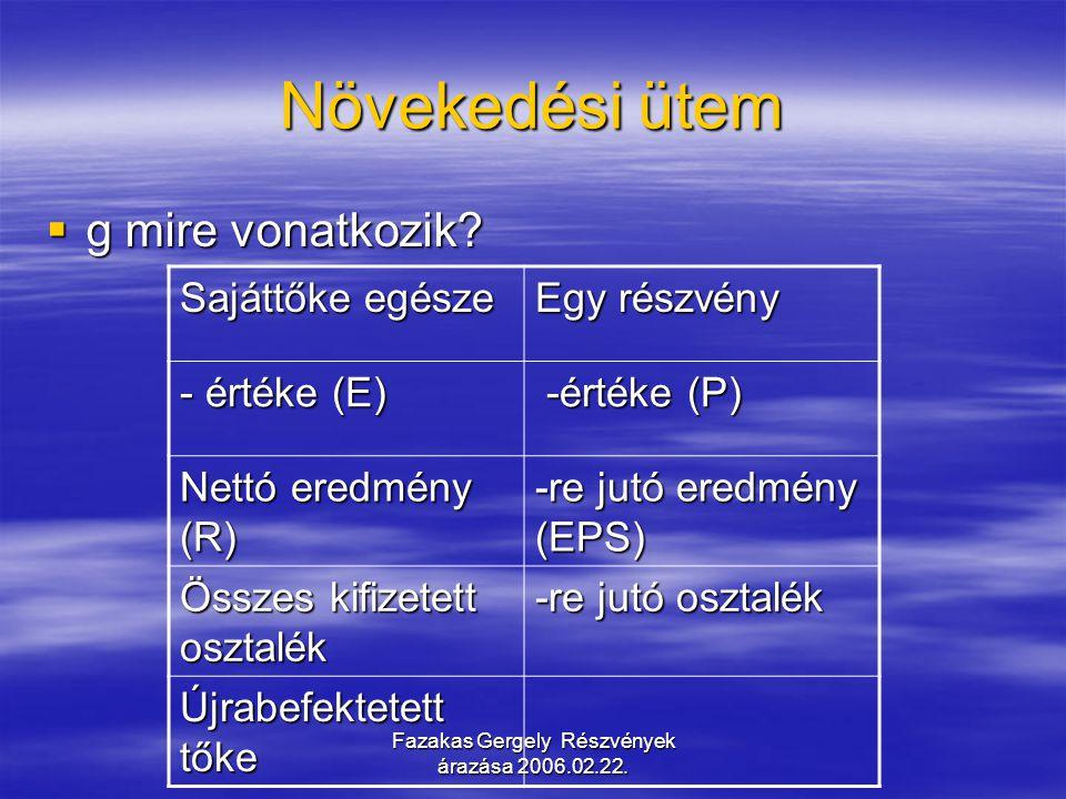 Fazakas Gergely Részvények árazása 2006.02.22. Növekedési ütem  g mire vonatkozik? Sajáttőke egésze Egy részvény - értéke (E) -értéke (P) -értéke (P)