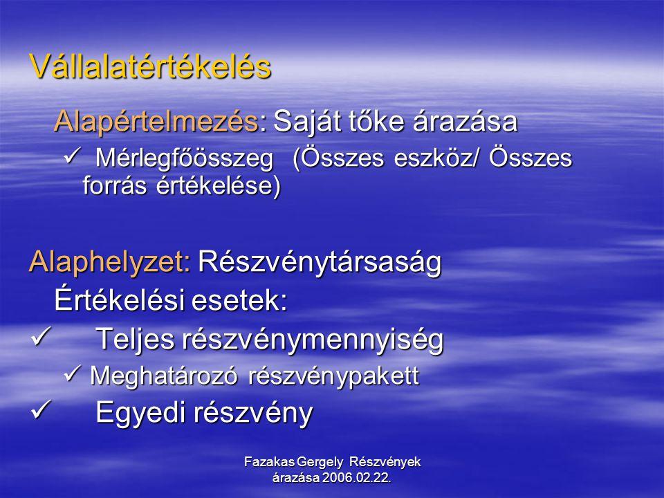Fazakas Gergely Részvények árazása 2006.02.22. Vállalatértékelés Alapértelmezés: Saját tőke árazása Mérlegfőösszeg (Összes eszköz/ Összes forrás érték