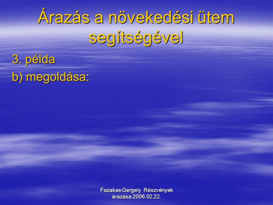 Fazakas Gergely Részvények árazása 2006.02.22. Árazás a növekedési ütem segítségével 3. példa b) megoldása:
