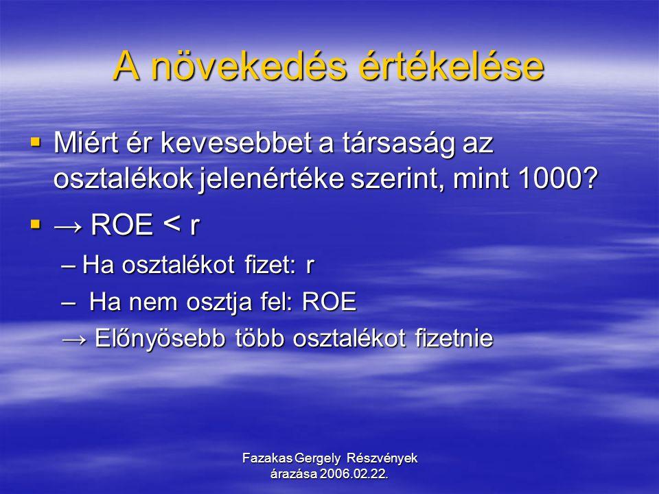 Fazakas Gergely Részvények árazása 2006.02.22. A növekedés értékelése  Miért ér kevesebbet a társaság az osztalékok jelenértéke szerint, mint 1000? 