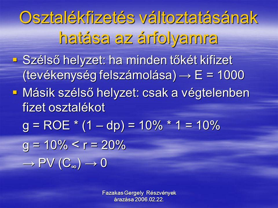 Fazakas Gergely Részvények árazása 2006.02.22. Osztalékfizetés változtatásának hatása az árfolyamra  Szélső helyzet: ha minden tőkét kifizet (tevéken