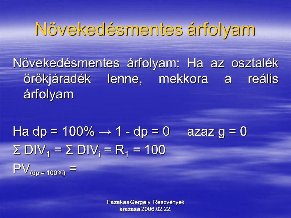 Fazakas Gergely Részvények árazása 2006.02.22. Növekedésmentes árfolyam Növekedésmentes árfolyam: Ha az osztalék örökjáradék lenne, mekkora a reális á
