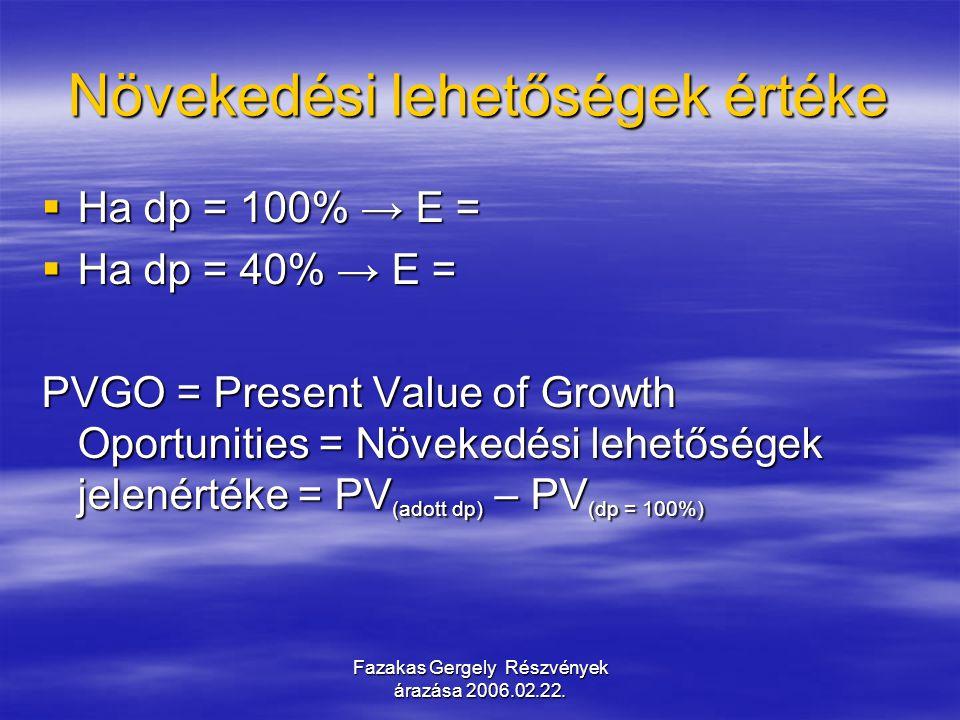 Fazakas Gergely Részvények árazása 2006.02.22. Növekedési lehetőségek értéke  Ha dp = 100% → E =  Ha dp = 40% → E = PVGO = Present Value of Growth O