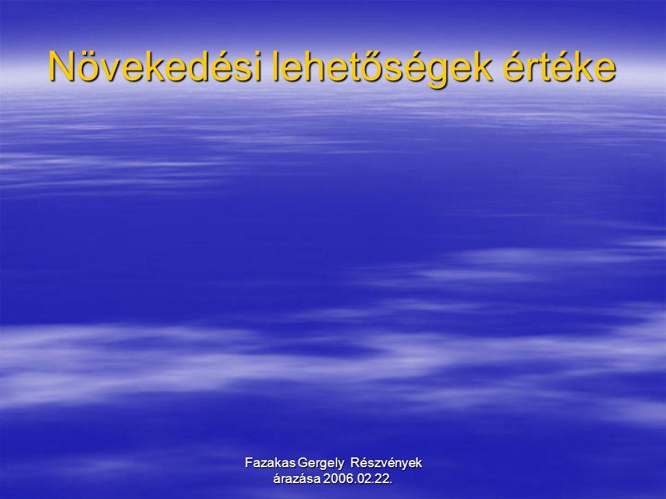 Fazakas Gergely Részvények árazása 2006.02.22.Egy részvény árára a számítások 4.