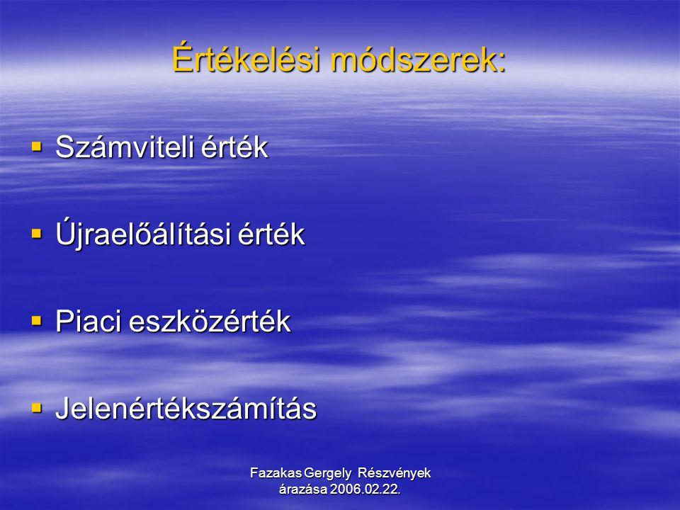 Fazakas Gergely Részvények árazása 2006.02.22. Értékelési módszerek:  Számviteli érték  Újraelőálítási érték  Piaci eszközérték  Jelenértékszámítá