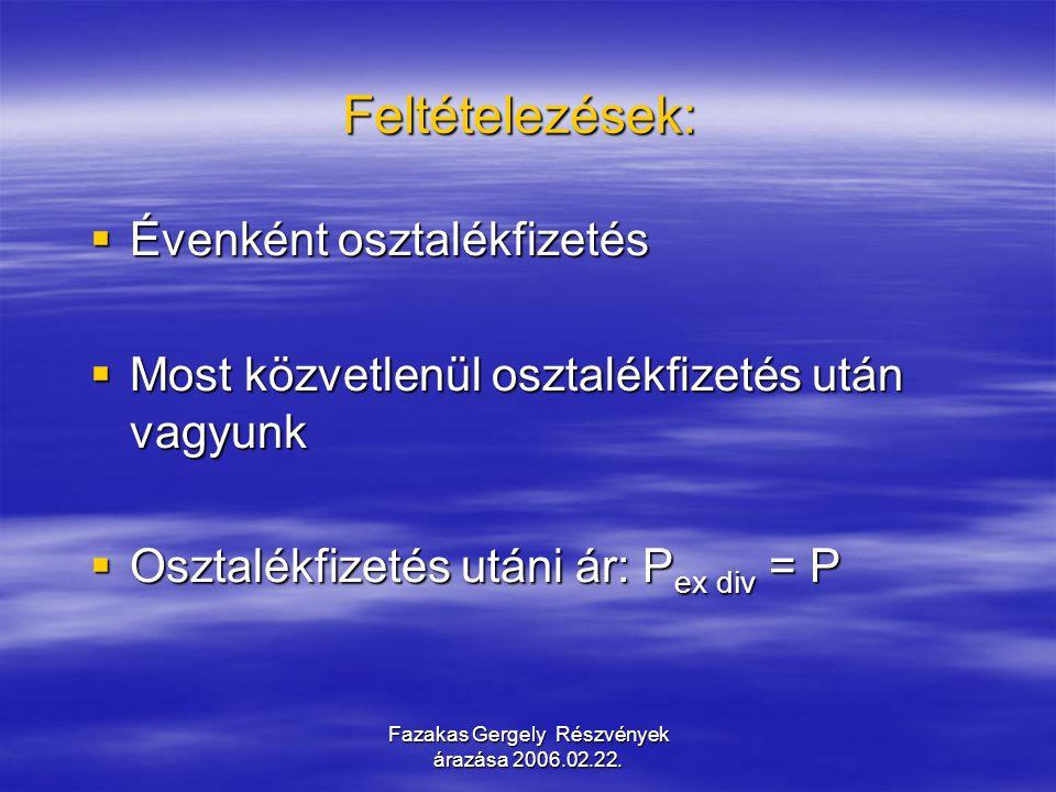 Fazakas Gergely Részvények árazása 2006.02.22. Feltételezések:  Évenként osztalékfizetés  Most közvetlenül osztalékfizetés után vagyunk  Osztalékfi