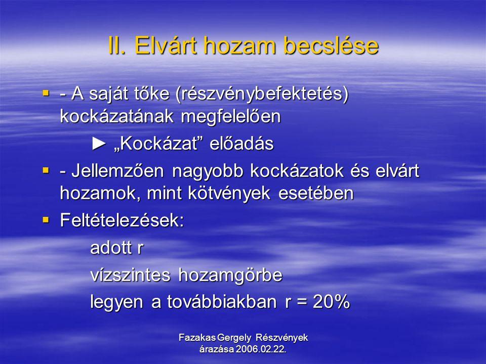 Fazakas Gergely Részvények árazása 2006.02.22.III.