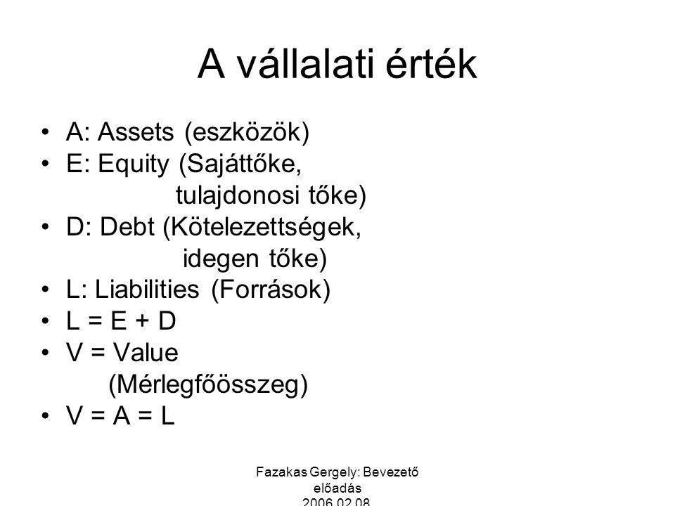 Fazakas Gergely: Bevezető előadás 2006.02.08. A vállalati érték A: Assets (eszközök) E: Equity (Sajáttőke, tulajdonosi tőke) D: Debt (Kötelezettségek,
