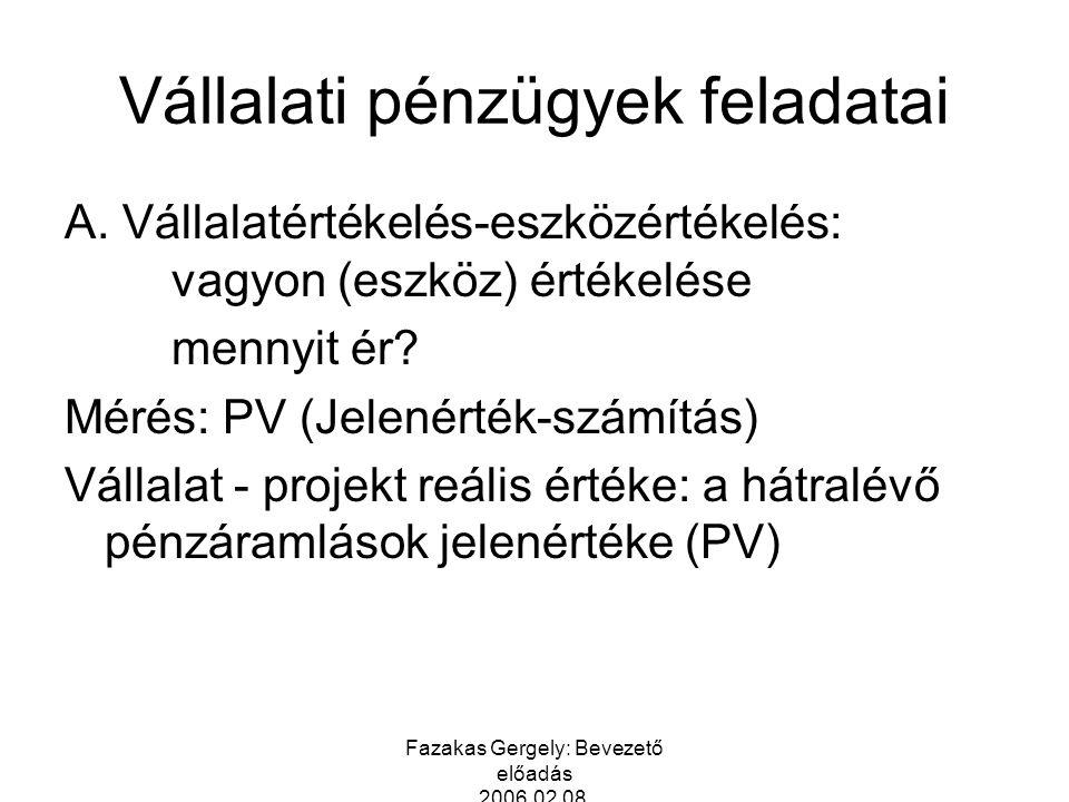Fazakas Gergely: Bevezető előadás 2006.02.08. Vállalati pénzügyek feladatai A. Vállalatértékelés-eszközértékelés: vagyon (eszköz) értékelése mennyit é