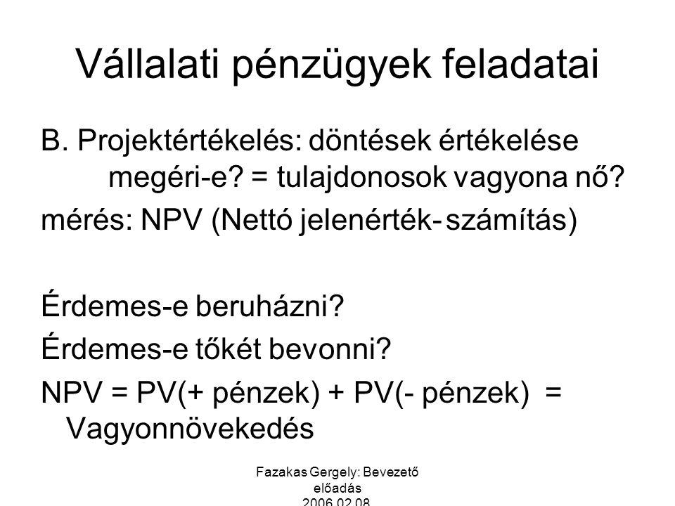 Fazakas Gergely: Bevezető előadás 2006.02.08. Vállalati pénzügyek feladatai B. Projektértékelés: döntések értékelése megéri-e? = tulajdonosok vagyona