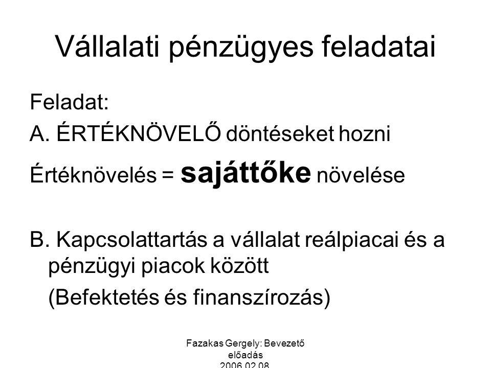 Fazakas Gergely: Bevezető előadás 2006.02.08. Vállalati pénzügyes feladatai Feladat: A. ÉRTÉKNÖVELŐ döntéseket hozni Értéknövelés = sajáttőke növelése