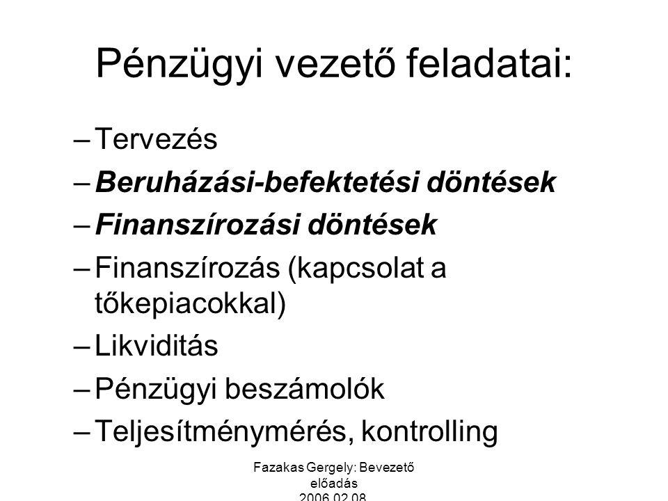 Fazakas Gergely: Bevezető előadás 2006.02.08. Pénzügyi vezető feladatai: –Tervezés –Beruházási-befektetési döntések –Finanszírozási döntések –Finanszí