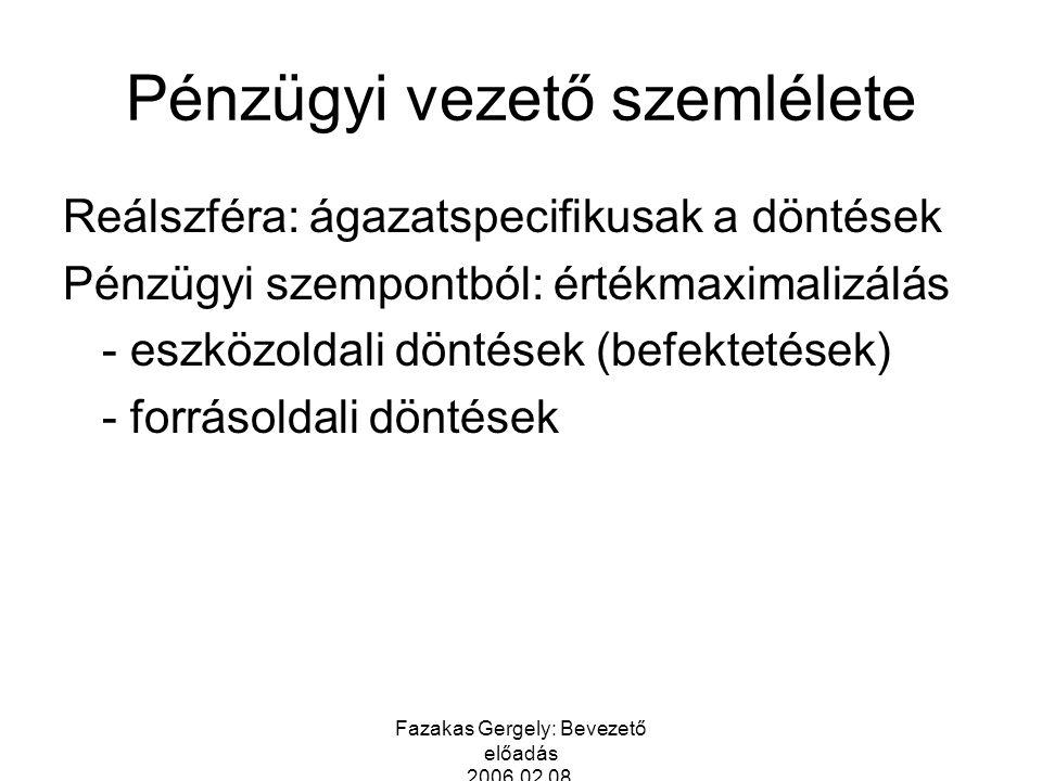 Fazakas Gergely: Bevezető előadás 2006.02.08. Pénzügyi vezető szemlélete Reálszféra: ágazatspecifikusak a döntések Pénzügyi szempontból: értékmaximali