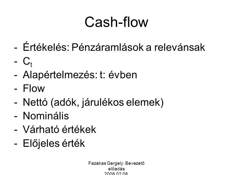 Fazakas Gergely: Bevezető előadás 2006.02.08. Cash-flow -Értékelés: Pénzáramlások a relevánsak -C t -Alapértelmezés: t: évben -Flow -Nettó (adók, járu