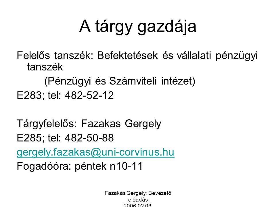 Fazakas Gergely: Bevezető előadás 2006.02.08. A tárgy gazdája Felelős tanszék: Befektetések és vállalati pénzügyi tanszék (Pénzügyi és Számviteli inté