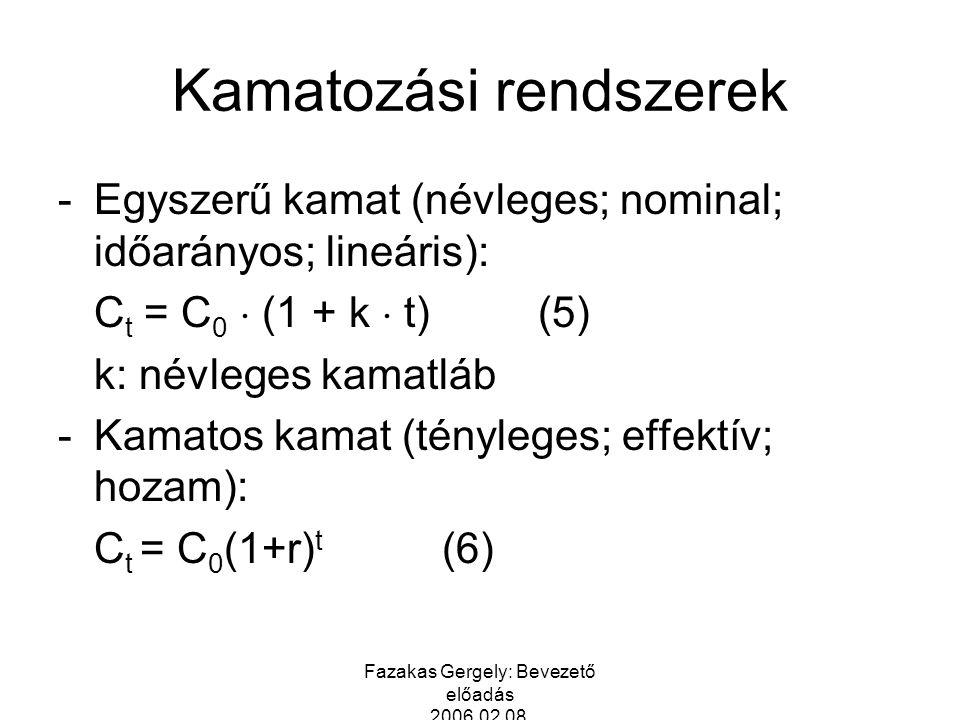 Fazakas Gergely: Bevezető előadás 2006.02.08. Kamatozási rendszerek -Egyszerű kamat (névleges; nominal; időarányos; lineáris): C t = C 0  (1 + k  t)