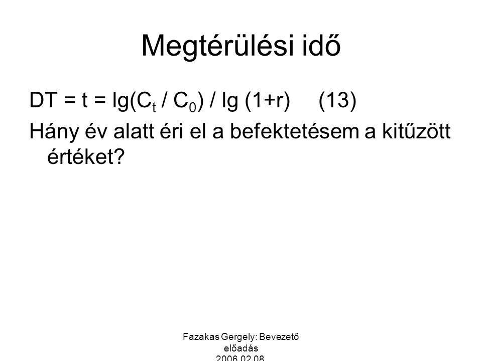 Fazakas Gergely: Bevezető előadás 2006.02.08. Megtérülési idő DT = t = lg(C t / C 0 ) / lg (1+r)(13) Hány év alatt éri el a befektetésem a kitűzött ér