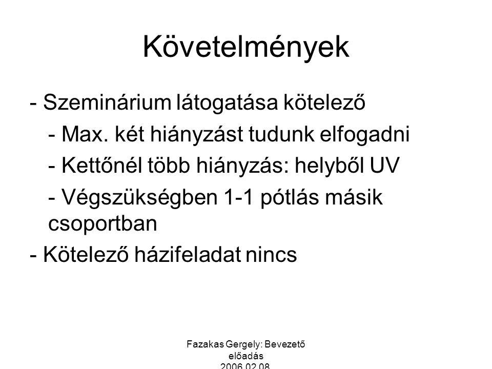 Fazakas Gergely: Bevezető előadás 2006.02.08. Követelmények - Szeminárium látogatása kötelező - Max. két hiányzást tudunk elfogadni - Kettőnél több hi