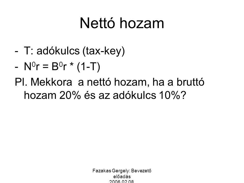 Fazakas Gergely: Bevezető előadás 2006.02.08. Nettó hozam -T: adókulcs (tax-key) -N 0 r = B 0 r * (1-T) Pl. Mekkora a nettó hozam, ha a bruttó hozam 2