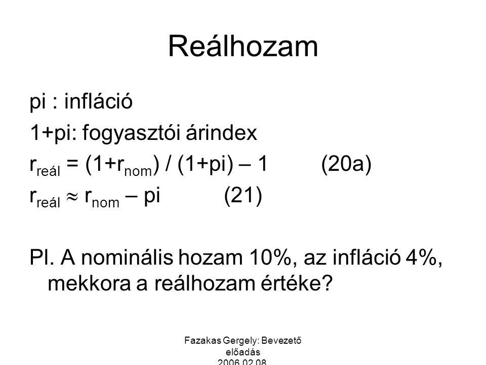 Fazakas Gergely: Bevezető előadás 2006.02.08. Reálhozam pi : infláció 1+pi: fogyasztói árindex r reál = (1+r nom ) / (1+pi) – 1 (20a) r reál  r nom –